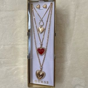 Guess Triple Strand Necklace and Earrings Set